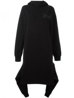 Платье-толстовка свободного кроя с капюшоном Aries. Цвет: чёрный