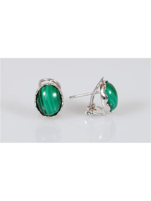 Серьги Lotus Jewelry. Цвет: серебристый, зеленый