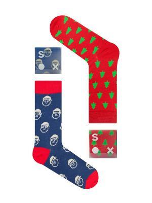 Набор Чем дальше в лес (2 пары коробке), дизайнерские носки SOXshop. Цвет: синий, красный