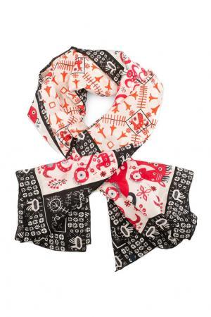 Шелковый платок «Русский орнамент» Gourji. Цвет: розовый