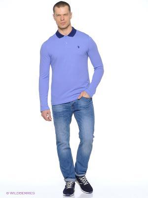 Лонгслив U.S. Polo Assn.. Цвет: голубой, темно-синий