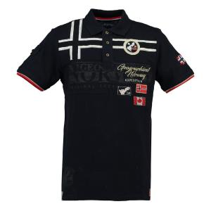 Рубашка с воротником-поло и короткими рукавами GEOGRAPHICAL NORWAY. Цвет: синий морской
