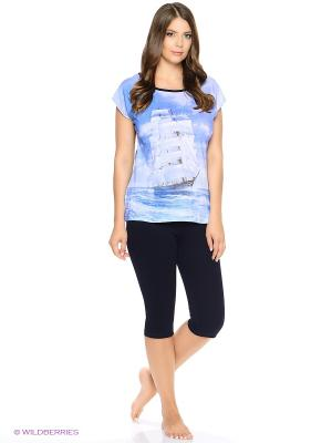 Комплект домашней одежды ( футболка, бриджи) HomeLike. Цвет: темно-синий, голубой