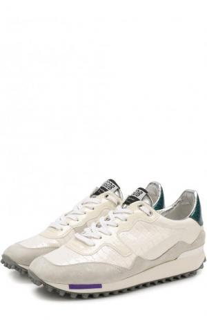 Комбинированные кроссовки Starland на шнуровке Golden Goose Deluxe Brand. Цвет: белый