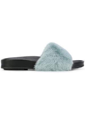 Шлепанцы с норковым мехом Gianna Meliani. Цвет: синий