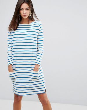YMC Свободное платье в бретонскую полоску. Цвет: белый