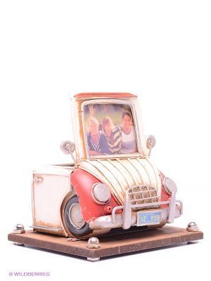 Фоторамка с подставкой для ручек Автомобиль красный белым 2фото 6х8см PLATINUM quality. Цвет: красный, белый