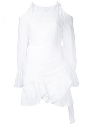Полупрозрачное платье с открытыми плечами Goen.J. Цвет: белый