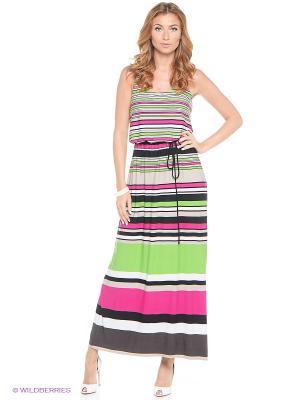 Платье London Times. Цвет: зеленый, розовый