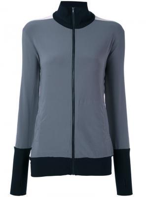 Трехцветная куртка на молнии Norma Kamali. Цвет: серый