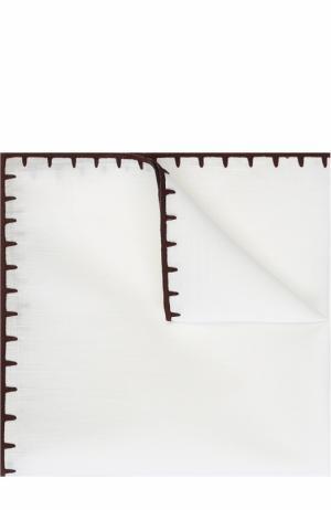 Платок из смеси льна и хлопка Ermenegildo Zegna. Цвет: белый