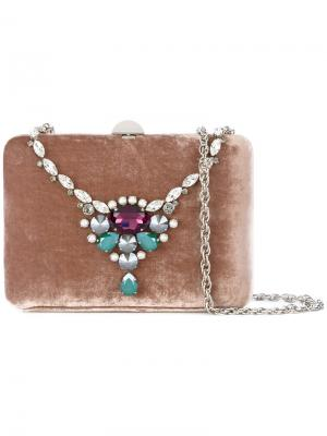 Клатч с украшением из поделочных камней Rodo. Цвет: розовый и фиолетовый
