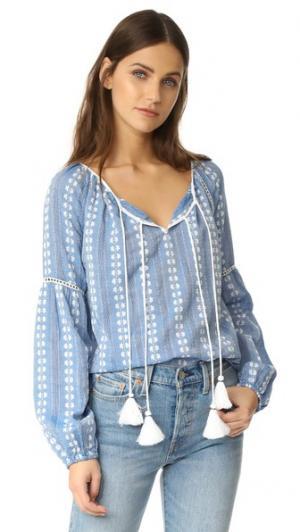 Блуза с цветочным рисунком Love Sam. Цвет: синий/белый