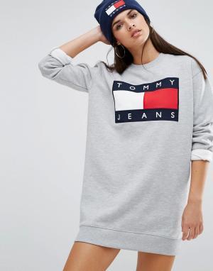 Tommy Jeans Трикотажное платье с логотипом. Цвет: серый
