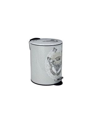 Мусорная корзина металлическая с педалью 19,5х26,5см - 5л Царство бабочек. Mathilde M. Цвет: белый, черный, серый