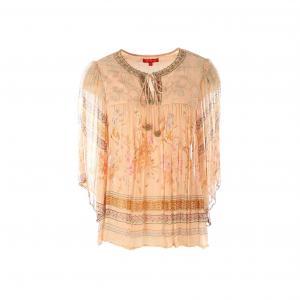 Блузка с круглым вырезом на завязках RENE DERHY. Цвет: персиковый