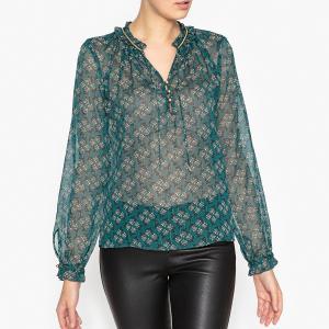 Блузка из вуали с рисунком IKKS. Цвет: изумрудный