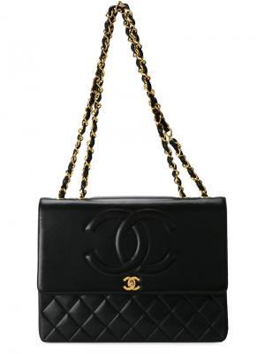 Сумка на плечо с тисненым узором Chanel Vintage. Цвет: чёрный