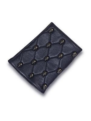 Кожаные перчатки ESMEE. Цвет: темно-синий