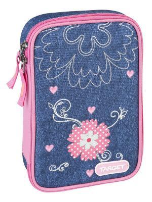 Пенал с канцтоварами Джинсовые цветы Target. Цвет: синий, розовый, фуксия