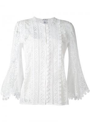 Кружевная блузка с рукавами три четверти Oscar de la Renta. Цвет: белый