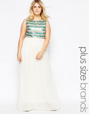 Club L Платье макси с пайетками на лифе Plus. Цвет: белый
