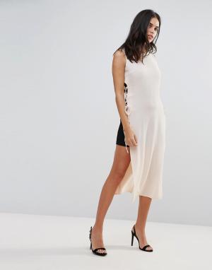Love Платье-накидка контрастной расцветки. Цвет: бежевый