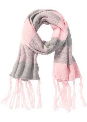Цветная шаль (розовый кварц/светло-серый меланж) bonprix. Цвет: розовый кварц/светло-серый меланж