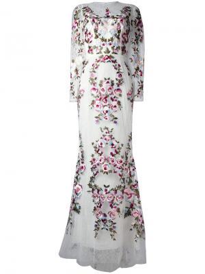 Кружевное платье с цветочным узором Zuhair Murad. Цвет: белый