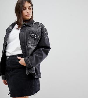 Chorus Plus Джинсовая oversize-куртка с жемчужной отделкой. Цвет: черный