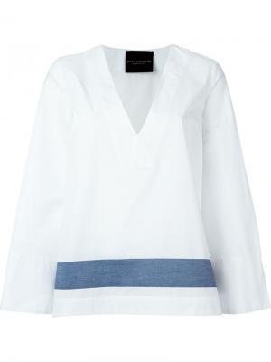 Блузка c V-образным вырезом Erika Cavallini. Цвет: белый