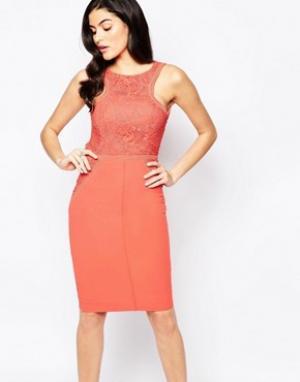 Forever Unique Платье миди с аппликацией кроше. Цвет: оранжевый
