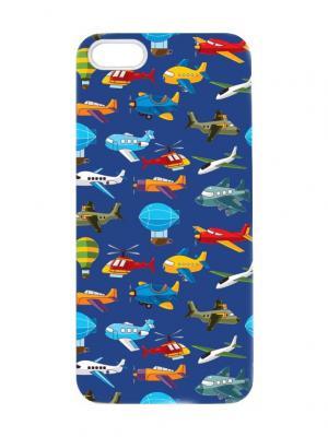 Чехол для iPhone 5/5s Самолетики на синем Chocopony. Цвет: темно-синий, темно-фиолетовый