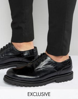 Hudson London Кожаные туфли дерби с крокодильим эффектом эксклюзивно д. Цвет: черный
