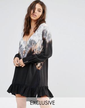 One Teaspoon Эксклюзивное свободное платье с принтом тай‑дай. Цвет: мульти