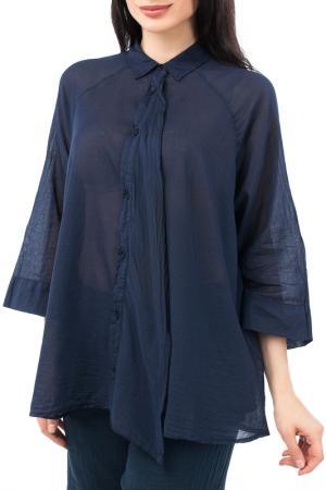 Свободная рубашка с широкими рукавами 3/4 EUROPEAN CULTURE. Цвет: темно-синий