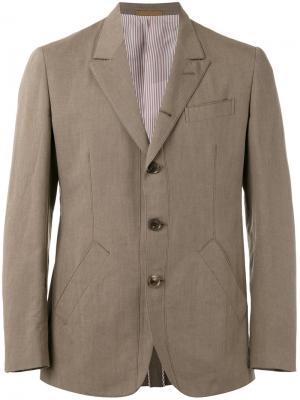 Пиджак на трех пуговицах Caruso. Цвет: зелёный
