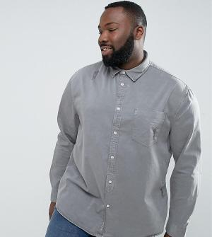 River Island Серая джинсовая рубашка классического кроя PLUS. Цвет: серый