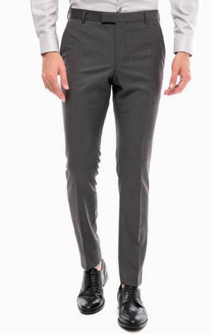 Шерстяные зауженные брюки Strellson. Цвет: серый