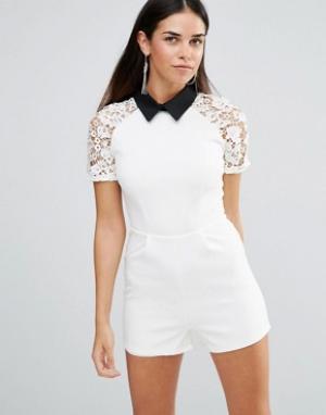 Girl In Mind Ромпер с контрастным воротником и кружевными короткими рукавами I. Цвет: белый