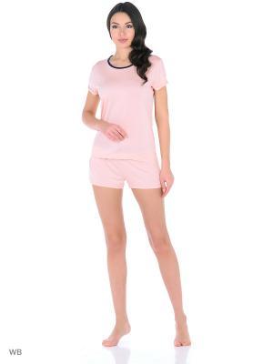 Пижама: футболка и шорты Tommy Hilfiger. Цвет: бежевый