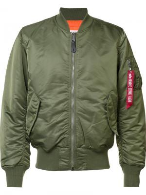 Куртка-бомбер MA-1 Blood Chit Alpha Industries. Цвет: зелёный
