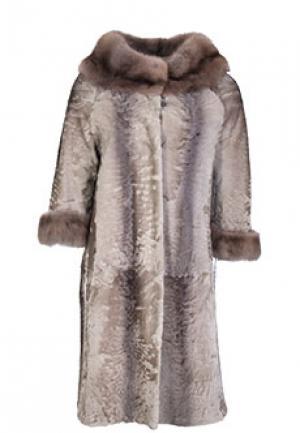 Меховое пальто каракуль BELLINI. Цвет: бежевый