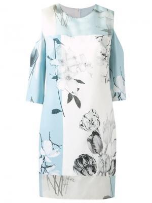 Платье с узором и вырезными деталями Gloria Coelho. Цвет: синий