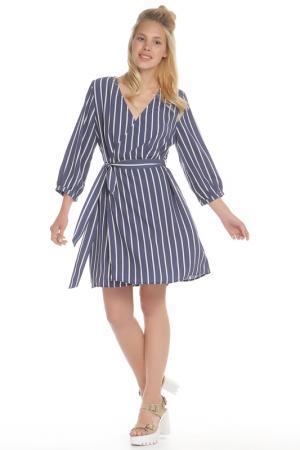 Полуприлегающее платье с лифом на запах HELLO MISS. Цвет: denim, джинсовый