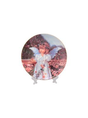 Тарелка декоративная Ангелочек Elan Gallery. Цвет: белый, коричневый, розовый