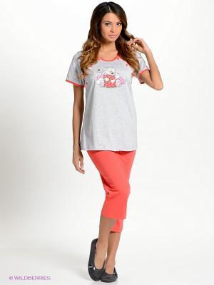 Комплект одежды Vienetta Secret. Цвет: коралловый, серый