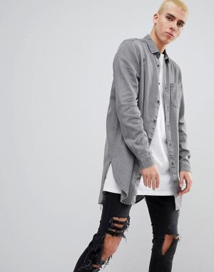 ASOS Серая джинсовая рубашка классического кроя. Цвет: серый