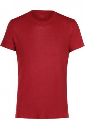 Льняная футболка с круглым вырезом 120% Lino. Цвет: красный