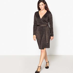 Платье с запахом средней длины и длинными рукавами CASTALUNA. Цвет: черный/золотистый люрекс
